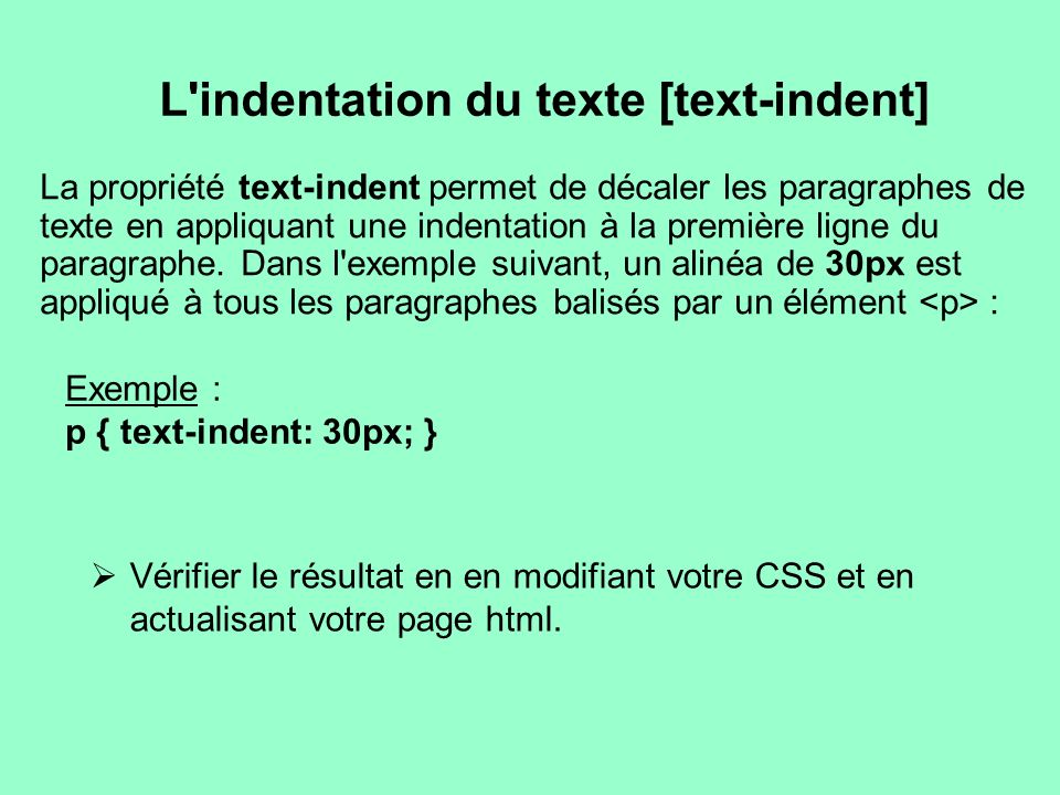 L indentation du texte [text-indent]